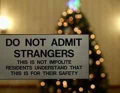 Day 3/366: Stranger Danger (Anne Marie Clarke) Tags: bokeh christmas sign warning security strangers 366the2020edition 2020onephotoeachday 366project