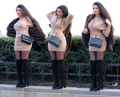 Portrait of girl with otk boots wearing a fur jacket (pivapao's citylife flavors) Tags: paris france trocadero girl beauties stitched