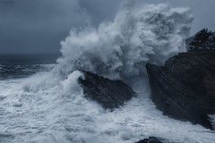 My First Day Of 2020 (Masako Metz) Tags: waves ocean sea water nature landscape seascape oregon coast pacific northwest pnw outdoor coastline shoreline shore january1st big crazy rocks trees people cloudy rainyseason winter power