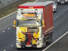 Hawkins Logistics, DAF-XF Deadpool (FN68EVV) On The A1M Southbound (Gary Chatterton 8 million Views) Tags: hawkinslogistics daftrucks dafxf fn68evv deadpool marveluniverse customisedpaintwork shippingcontainer trucking wagon lorry haulage distribution logistics transport motorway flickr canonpowershotsx430 photography