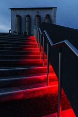 Blood on the stairs (frankdorgathen) Tags: alpha6000 sonyzeiss24mm perspektive perspective bluehour blauestunde ruhrgebiet ruhrpott stoppenberg essen bergbau industry industrie industriekultur zechezollverein stairs treppe illumination