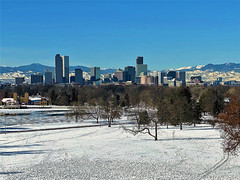 Across the Snow and Ice (Jan Nagalski) Tags: mountains snow ice lake park trees downtown skyline frozen panoramicview skyscrapers buildings overview blue blueskies winter denver colorado jannagalski jannagal museumofnatureandscience ducklake cityparklake citypark denverzoo scenic urban foothills frontrange rockies rockymountains milehigh milehighcity