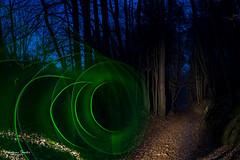 Grünes Licht zur blauen Stunde (AnBind) Tags: lightart motive lightpainting orte lightblade tube meinegegend 2020 wald egelsee imwald myregion forest woods nacht night dark dunkelheit