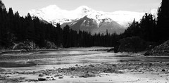 Banff National Parkway (Mr. Happy Face - Peace :)) Tags: alberta canada banff bowriver forest hiking sky mountains rockies autumn snow ice wilderness black white bw art2020