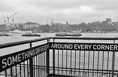London.... (markwilkins64) Tags: london thethames thames tugs boats cranes streetphotography street bw blackandwhite monochrome mono sign water riverthames uk trees buildings railings markwilkins southbank southwark