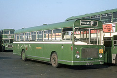 Eastern National Omnibus Company . 1500 CVW854G . Basildon Garage Yard , Essex . October-1969 . (AndrewHA's) Tags: essex basildon bus garage yard easternnational bristol re ecw eastern coach works 1500 cvw854g private hire your trip