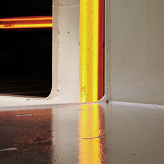 color in the corner (clementines71) Tags: yellow red orange color line lines ferry concrete reflection neon lights travel minimal minimalism geometric warm square squarecrop corner boat gold flickr colors