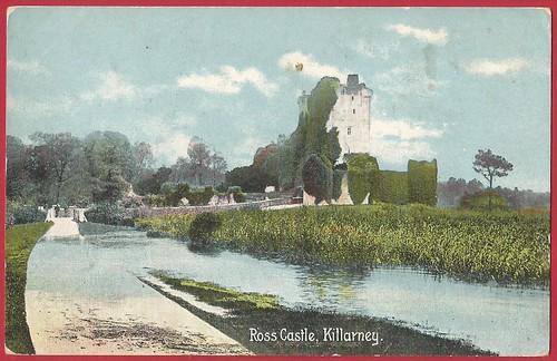 Ross Castle, Lough Leane, Killarney, Ireland. Christian Novels postcard c.1920's.