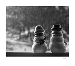 Shakers (agianelo) Tags: salt pepper snowman ceramic window winter view monochrome bw bn blackandwhite