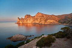 Cape Chicken-Kaya at Dawn (zaxarou77) Tags: cape chickenkaya dawn crimea russia landscape nature color outdoor water sky mountain blue orange sony ilce a7 a7m2 a7mii sonyclub carlzeiss carl zeiss 1635 fe sel 1635f4 fe1635f4za