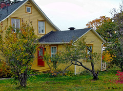 ... (Jean S..) Tags: house rural trees grass village windows door green red yellow