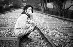 Kyoto Street Portrait (Andrew Allan Jpn) Tags: street streetportrait streetfashion streetphotography streetstyle streets japan japanesegirl japanesewoman travel smile cute monochrome blackandwhite unposed rails kyoto happyplanet asiafavorites