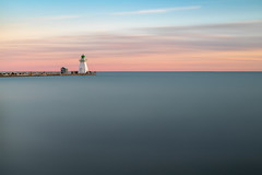 Minimal Port Dover (B.E.K. Photography) Tags: portdover sunset ontario canada lake erie lighthouse longexposure pier dock clouds sky water blue pink orange minimalism outdoor landscape nikond850 nikon2470f28 bek briankrouskie