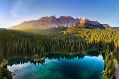 Sunrise at Lago di Carezza (Alexander Lauterbach Photography) Tags: dolomites dolomiten karersee carezza lagodicarezza drone aerial sunrise mountain italy landscape nature