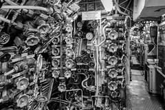 Inside submarine U9 (flo.niegel) Tags: speyer germany europe submarine uboat navy germannavy watercraft vessel ship underwater commandcenter operations military nikon d850 nikkor240700mmf28 blackwhite sub history historical naval interior u9
