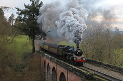 Raising the echoes (Andrew Edkins) Tags: 75069 standard4 canon oldburyviaduct severnvalleyrailway steamtrain geotagged railwayphotography clag exhaust bridgnorth preservedrailway january 2020 passenger trees heritage vintage