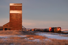 CN 2666 East @ Butze, AB (JustDaveGray) Tags: canadian national railway canada alberta mixed freight cn cnr rail railroad wooden elevator butze
