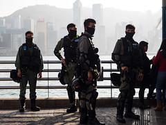 Situational Awareness. (Feldore) Tags: hongkong riot police squad kowloon hong kong masked masks feldore mchugh em1 olympus 1240mm trouble protest situational awareness alert