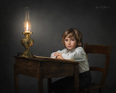 Back to school (Lynne Williams Photography in Wales) Tags: child lamp childhood boy love desk school study vintage victorian studio fine art portraiture painterly lighting strobe