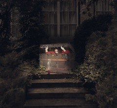 Dropped Off (Water to My Soul) Tags: penny chest trunk box candle shadow light stairs steps bushes windows dark creepy