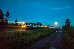 Night express (Arttu Uusitalo) Tags: vr finnishrailways sr1 electric locomotive night express train pyo263 p263 august late summer nightfall midnight moonlight moon wideangle south ostrobothnia finland canon eos 5d mkiv