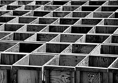 Grape Boxes III (Bob_Wall) Tags: bobwall btwgf blackandwhite monochrome wood shapes geometry weathered lines angles boxes organic abstract