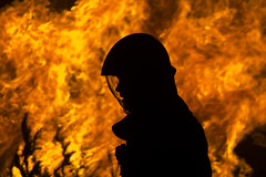 Firefighter in action (paolotasseron) Tags: fire firefighter flames hot naturephotography forest tree trees flame warm