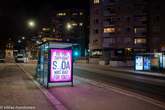 LUX Helsinki 2020 (aixcracker) Tags: luxhelsinki luxhelsingfors lux helsingfors finland helsinki suomi january januari tammikuu winter vinter talvi evening kväll ilta monopod nikond4s iso6400 nikonaf1735mmf28d blue blå sininen black svart musta red röd punainen europe europa eurooppa light ljus valo dark mörker pimeys
