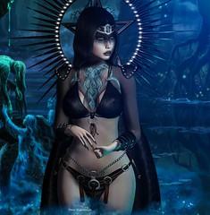 ✞Warrior Witch✞ (YanaNIghtwish) Tags: second life unik darkness menjail nefekalum luas avada lemporio dark witch warrior tattoo weird sl