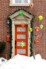 The Door of Christmas Past (Karen_Chappell) Tags: door xmas noel holiday red green house nfld christmas decor decorations ornament ornaments tree winter snow home architecture brick garland stjohns newfoundland atlanticcanada avalonpeninsula eastcoast canada canonef24105mmf4lisusm