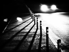 rabbit in your headlight (Pomo photos) Tags: car road night lowlight olympus pen penf leica 25mm surreal noir ground street dim dull abandoned lost alone winter blackandwhite bw monochrome mono mood mist fog tree shadow light olympuspenf shape geometry minimalism asphalt lamp dark darkness
