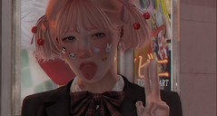 Boop (drayton.miles) Tags: momo momocha pink second sl secondlife mesh kawaii cute femboy school ribbon bow cherry cherries stickers japan trip asia close up portrait bento catwa