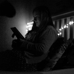4/366 (_anke_) Tags: 366project 4366 photoaday documentinglife momlife reading reader night nighttime darkness fairylights 2020 self selfportrait 365 365challenge 365project squarecrop blackandwhite