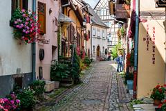 Streetscene in Eguisheim (George Plakides) Tags: eguisheim france streetscene cobbledstonesstreets flowers elsace cobbledroad halftimber cottages