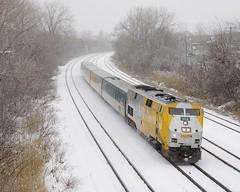 VIA 62 (Michael Berry Railfan) Tags: via62 via914 viarail villestpierre lachine montreal montrealsub quebec train passengertrain p42dc ge generalelectric genesisseries winter snow