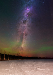 Summer Milky Way at Lake Dornducking - Wagin, Western Australia (inefekt69) Tags: milkyway lake dornducking salt dead trees panorama stitched mosaic ms ice southern hemisphere cosmos western australia dslr long exposure rural night photography nikon stars astronomy space galaxy astrophotography outdoor core great rift ancient sky 50mm d5500 landscape nikkor prime wagin ioptron skytracker hoya red intensifier filter airglow carina summer milky way pressure ridges