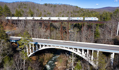 Set your Watch (Carlos Ferran) Tags: emd lhoist north america train trains ge locomotive rail road westel tennessee tn rockwood turn sunny drone bridge arch steel span mountains eastern central