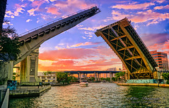 He has many bridges... (Aglez the city guy ☺) Tags: miamiriver downtownmiami bridge river perspective yacht sunset outdoors urbanexploration waterways riverwalktrail riverbank city clouds colors