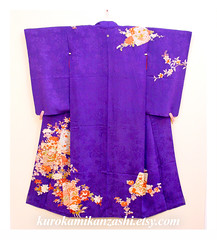 Brilliant Blossoms (Kurokami) Tags: lindsay ontario canada kimono japan japanese asia asian woman women girl girls lady ladies traditional kitsuke tsukesage houmongi purple brilliant blossom blossoms flower floral chrysanthemum kiku peony botan orange tachibana plum ume pulownia kiri vignette rinzu antique silk taisho showa period era