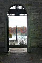 Niagara falls thru doorway (VisualEyesit) Tags: door niagarafalls autumn view canada