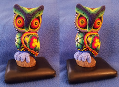 Huichol Art Oaxaca Screech Owl 3D Cross View (JonGames) Tags: huichol art oaxaca owl beads carving 3d depth stereo stereogram cross crossview crosseyes