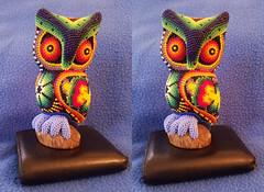 Huichol Art Oaxaca Screech Owl 3D Parallel View (JonGames) Tags: huichol art oaxaca owl beads carving 3d depth stereo stereogram parallel