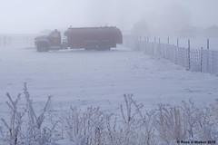 Frosty Fire Truck (walkerross42) Tags: firetruck truck tanker frost fog hoarfrost winter cold fence weeds snow montpelier idaho bearlakecounty us30