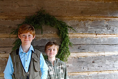 Kings Mountain Cabin (FAIRFIELDFAMILY) Tags: jason taylor grant carson child young boy children brothers log cabin kings mountain state park 2020 christmas wreath wall columbia fishing hunting vest camo red hair winnsboro fairfield county york sc south carolina nc north rock fireplace