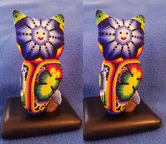 Huichol Art Oaxaca Screech Owl Back 3D Cross View (JonGames) Tags: huichol art oaxaca owl beads carving 3d depth stereo stereogram cross crossview crosseyes