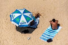 oasis (Greg M Rohan) Tags: nikon d750 2020 nikkor people male men thongs flipflops beachumbrella beach bondi umbrella sand sydney australia towel bondibeach