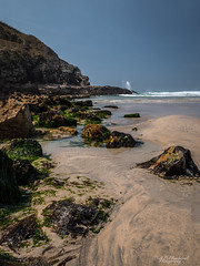 At the mercy of the tide (Through_Urizen) Tags: category cornwall england focusstacked perranporth places seascape canon1585mm canon70d canon outdoor landscapephotography sea water tide beach rocks patterns bluesky summer cliffs waves sandybeach greatbritain uk unitedkingdom