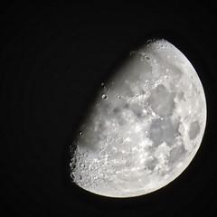 Saturday Night Moon Experiments (Chic Bee) Tags: affinityphotoapp canonpowershotsx70hs applesphotosapp moon waxinggibbous january42020 saturdaynight841pm cloudlessnightsky