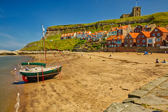 _20A6175 The Gaffer (Leeds Lad at heart) Tags: uk england yorkshire whitby beach sand sea harbour abbey church cottages boat yacht landscape seascape