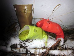 Hunter wellies left outside for the winter (camilla100) Tags: hunter wellies outside winter gummistiefel rain boots